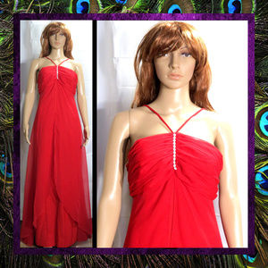 Bold Red Long Gown by Night Moves #031